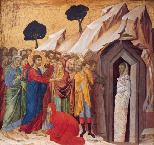Raising of Lazarus by Duccio Buoinsegna of Sienna. Public Domain. Kimbell Art Museum, Ft. Worth, Texas.