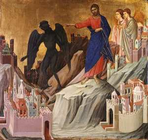 The Temptation on the Mountain, egg tempera and gold leaf on panel, Duccio Buoninsegna, 1308-1311.