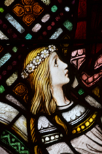Detail of Jairus' daughter from a stained glass window at St. Joseph's Villa Chapel, Richmond, Va.